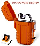 Outdoors Waterproof Lighter USB Electronic Rechargeable Pulse Plasma Lighter Double Arc Plasma Lighter Perfect for Outdoors Camping Hiking Travelling Gas Stove BBQ Camping Trip Fire Starter (Orange)