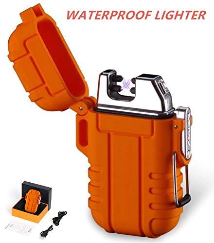 Encendedor de plasma electrónico recargable por USB, para exteriores, impermeable, para exteriores, camping, senderismo, viajes, estufa de gas, barbacoa, camping, fuego, iniciador de fuego (naranja)