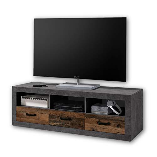 Stella Trading INDIANA Vintage TV-Board in Old Wood Optik, Betonoxid - ausdrucksstarkes Retro Lowboard für Ihr Wohnzimmer - 147 x 49 x 45 cm (B/H/T)
