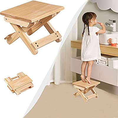 Mindore Folding Wooden Stool,Foldable Step Stools for Kids & Adults,7.7 inch Lightweight,Suitable for Bedroom,Living Room,Laundry or Outdoor Garden Stepping,Holds up to 180 Lbs(1 Pack Wood Color)