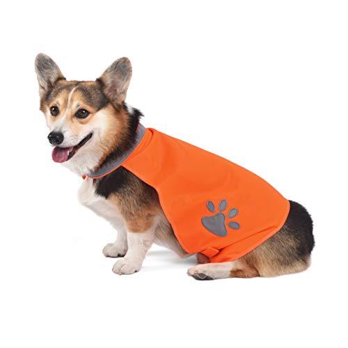 A-SAFETY Dog Reflective Dress Vest, High Visibility Dog Vest Clothes Dog Summer Jacket Coat Orange,13.7inches