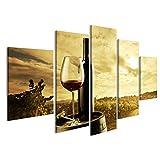 Quadro Moderno Bottiglia di Vino Barrel Toscana Vigneti Stampa su Tela - Quadro x poltrone Salotto Cucina mobili Ufficio casa - Fotografica Formato XXL