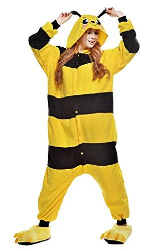 NEWCOSPLAY Unisex Adult Animal Bee Pajamas Halloween Costume (L) Yellow