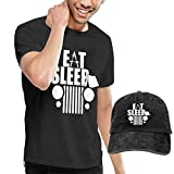 Henrnt Camiseta para Hombre,Tops y Camisas Eat Sleep Jeep T Shirts Short Sleeve...