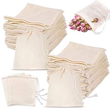 KONUNUS 100 Pieces Cotton Muslin Bags 4 x 3 Inches Drawstring Cotton Bags for Reusable Sachet Teas Crafts Spices Soaps Jewellery Parties Wedding Favors and Home Decor  Natural Color