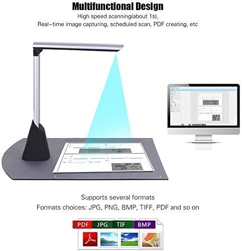 Rabbfay Hoch Geschwindigkeit Dokument Kamera Scanner, 10 Megapixel HD Max A4 Scannen Größe mit OCR Funktion LED Licht zum Klassenzimmer Büro Bibliothek Bank,A