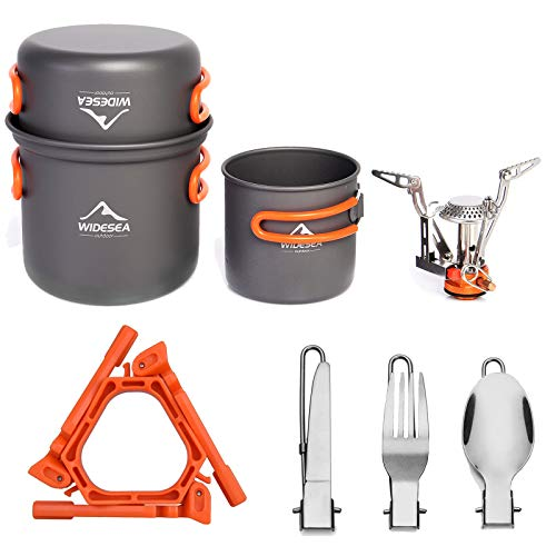 widesea 8pcs Camping Cookware Mess Kit with Lightweight Pot Pan Stove and Tank Bracket, Fork Knife Spoon Kit for Backpacking, Outdoor Camping Hiking and Picnic