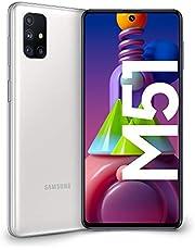 "Samsung Galaxy M51, Smartphone, Display 6.7"" Super AMOLED Plus, 4 Fotocamere, 128GB Espandibili, RAM 6 GB, Batteria 7000 mAh, 4G, Dual Sim, Android 10, [Versione Italiana], White, Esclusiva Amazon"