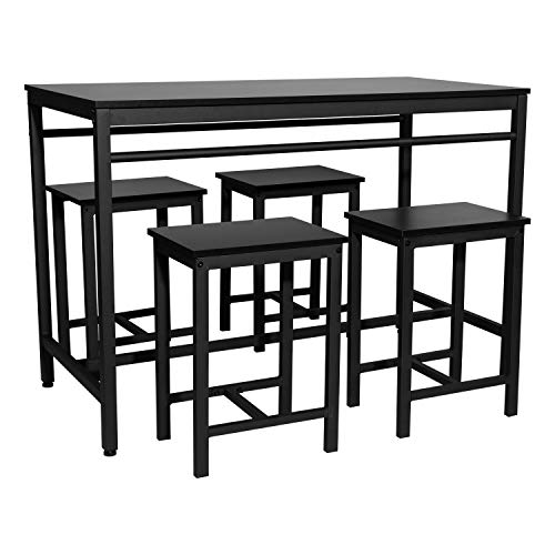 Familymill Modern Kitchen Table and Chairs for 4,Dining Table Set,bar Table Set,and Bistro Table Set Perfect for Breakfast Nook(Black)