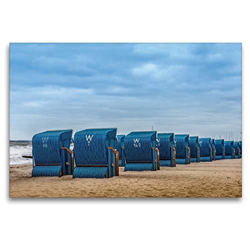 Premium Textil-Leinwand 120 x 80 cm Quer-Format Strandkörbe in Kühlungsborn/Ostsee | Wandbild, HD-Bild auf Keilrahmen, Fertigbild auf hochwertigem Vlies, Leinwanddruck von Dieter Gödecke