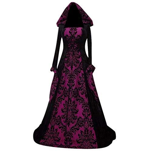 NHNKB Disfraz de Steampunk para mujer, vestido gótico con capucha, ropa renacentista medieval, largo hasta el suelo, maxivestido, corpiño, cosplay, disfraz para Halloween, carnaval, fiesta temática
