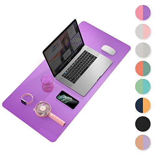 Multifunctional Office Desk Pad, YSAGi Ultra Thin Waterproof PVC Leather Mouse Pad, Dual Use Desk Writing Mat for Office/Home (Purple Pink, 80 x 40 cm)