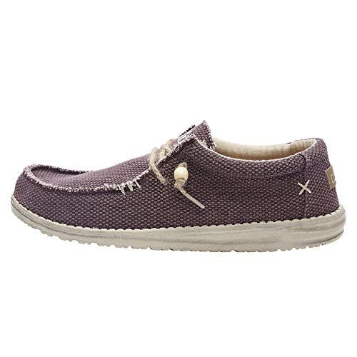 Dude Shoes Hombres Wally Natural Borgoña UK10 / EU44
