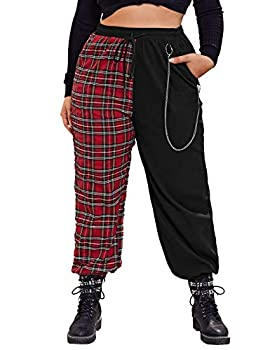SOLY HUX Women s Plus Size Plaid High Waisted Drawstring Sweatpants with Pocket Colorblock 2XL