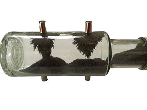 Magnetflasche Flasche mit Eisenpulver + 4x Magnete - Magentfeldkennlinien Magnetismus erklären für z.B. Schule / Unterricht / Physik - Magnetspielzeug