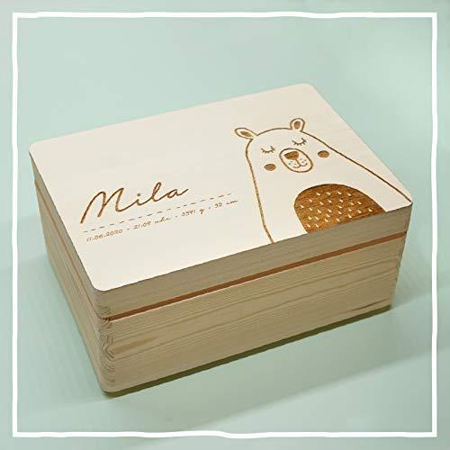 Personalisierte Erinnerungsbox Box Aufbewahrungsbox Erinnerungskiste mit Namen Holzkiste für Kinder Geschenkbox Geschenkidee für Jungs Mädchen Bär Bärchen Weihnachten Geburtstagsgeschenk hellomini