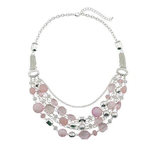 Bocar Collar de cadena multicapa con cristales de colores esmaltados para mujer