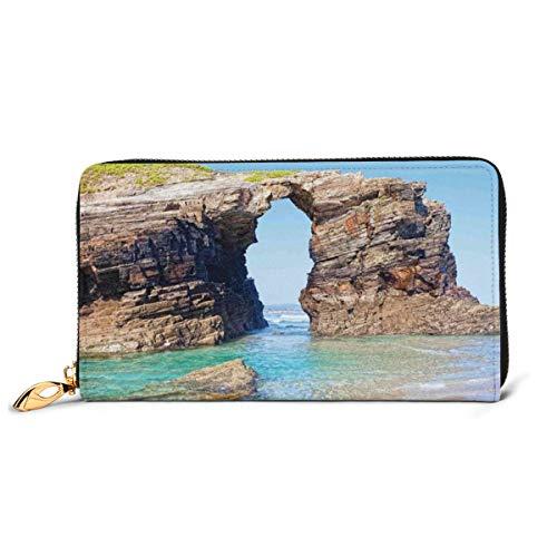 Women s Long Leather Card Holder Purse Zipper Buckle Elegant Clutch Wallet, Old Rocky Stone Arches On Spanish Seacoast Summer Light Nature Scenery De Mediterranean,Sleek and Slim Travel Purse