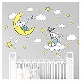 Little Deco Aufkleber Mäuse auf Mond und Wolke I Wandbild S - 73 x 52 cm (BxH) I Sterne Wandsticker Kinder Wandtattoo Kinderzimmer Baby Deko Babyzimmer DL302