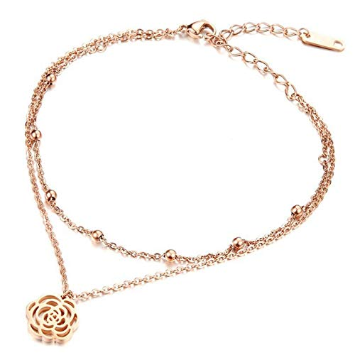 ANAZOZ sieraden roestvrij staal dames ankle armbanden hol Camellia bead rose goud 21cm