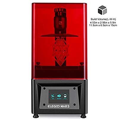 """ELEGOO MARS UV Photocuring LCD 3D Printer with 3.5"""" Smart Touch Color Screen Off-line Print 4.53""""(L) x 2.56""""(W) x 5.9""""(H) Printing Size-Black"""