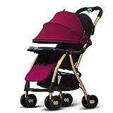 El Cochecito De Bebé Se Puede Sentar Reclinable Portátil Ligero Amortiguador Niño Paraguas Carrito Bebé Carrito De Mano (Color: Púrpura)