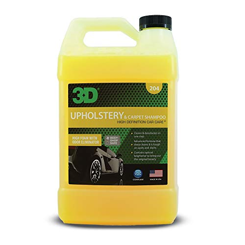 3D Upholstery & Carpet Shampoo - High Foam Stain Remover & Odor Eliminator Shampoo 1 Gallon