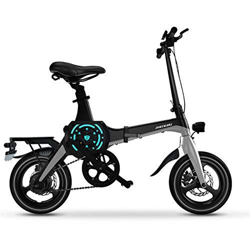 ZBB Elektrisches Fahrrad 14-Zoll-tragbares faltendes elektrisches Mountainbike für Erwachsenen mit 36V Lithium-Ionen-Akku E-Bike 400W Leistungsstarker Motor Geeignet für Erwachsene,Black,90KM