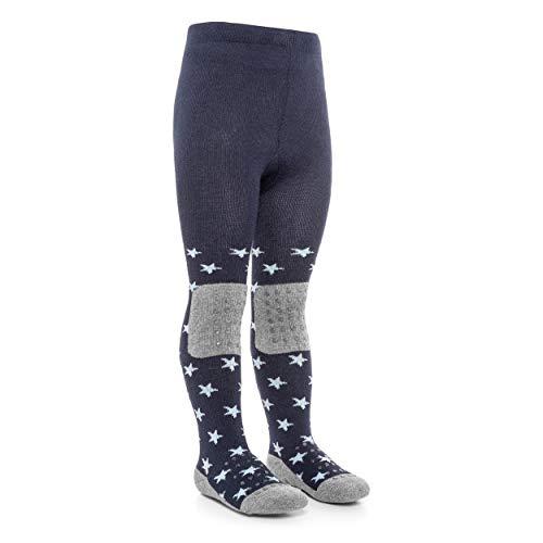 LaLoona Baby Krabbelstrumpfhose mit ABS Sohle - elastische Kinder Strumpfhose mit Anti Rutsch Noppen - Sterne Marine - 74/80