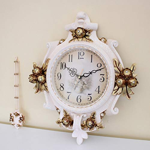 HY Hogar Creativo Retro Retro Reloj De Pared Decorativo Resina Antiguo Tallado Reloj Digital Blanco Sala De Estar Dormitorio Reloj De Pared Silencioso con Péndulo 43 * 64 Cm