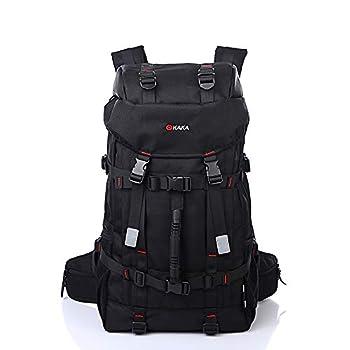 kaka Travel Backpack Men and Women Outdoor Backpack Hiking Waterproof Large Capacity Backpacks Laptop Daypack  55L-Black