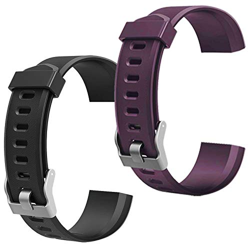 scarDS Replacement Bands for Fitness Tracker ID115PlusHR, Pedometer Wristbands - Adjustable Replacement Bands for Activity Tracker Straps for ID115 Plus,ID115 PlusHR (Black&Purple) …