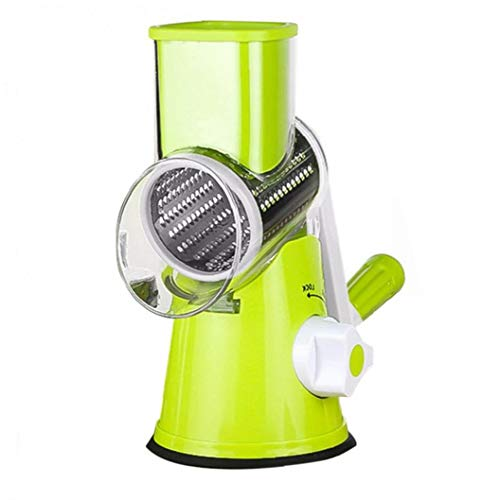 Nicetruc Manual de Queso rallador de Verduras Cortar giratoria del Tambor rallador de la Fruta con Shredder 3 Inoxidable Acero rotativo Conjunto Verde