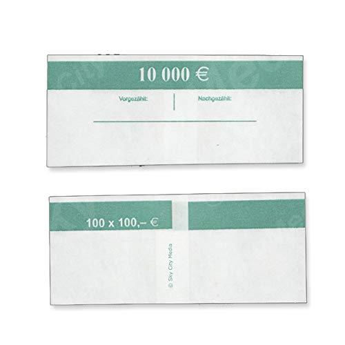 Banderolen für Euro Geldscheine je 50x (100 € Banderole) Geldbanderole Papier für Geldbündel Fassungsvermögen je 100 Scheine