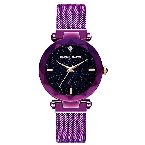 Reloj de Pulsera de Cuarzo para Mujer 34 mm Starry Sky Relojes de Banda de Malla magnética para Damas cumpleaños/Regalo de San Valentín