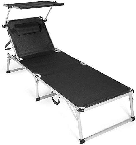 Tumbonas sillas de jardín transpirables aluminio a prueba de herrumbre, la almohada se pueden ajustar con el toldo movible,Black