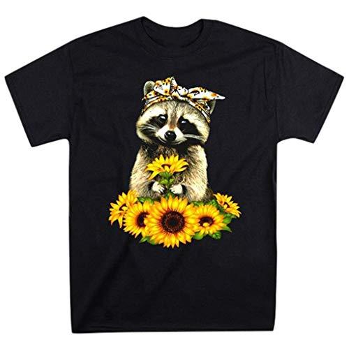 Briskorry t shirt damen Sommer Komisch T-Shirts Sonnenblume Schön Waschbär drucken O-Ausschnitt Neu Frauen blusen Mode Kurzarm Beiläufig lockere übergrößen Tops