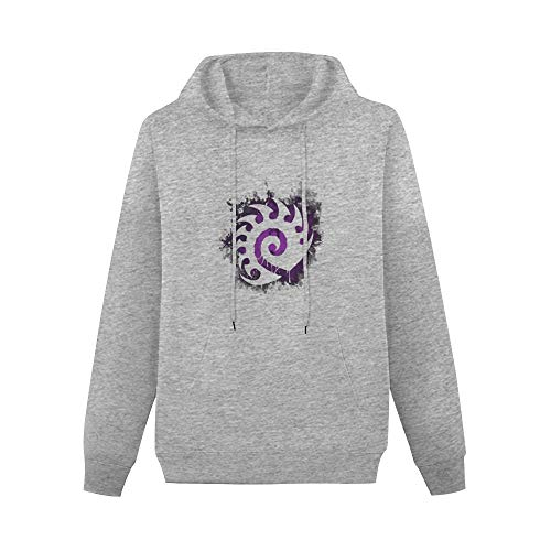 Starcraft II Starcraft II Zerg Creeping Shadow Purple Logo Sweater Hoodie Sweatshirt Hooded Sweat Hoody Pullover Gray 2XL