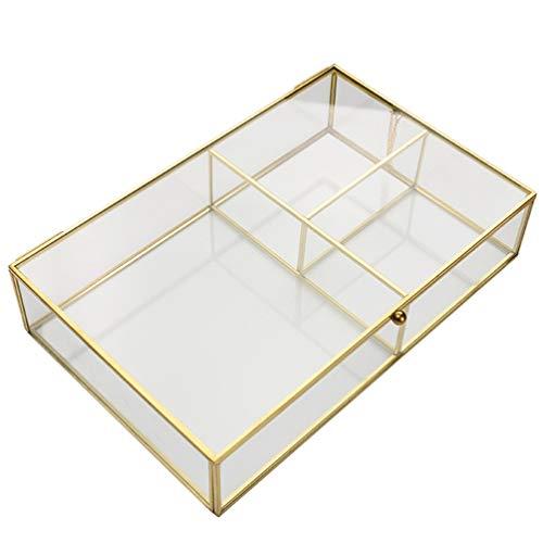 NUOBESTY Organizador de Joyas de Vidrio Caja Transparente Dorado Vintage Caja de Vidrio Joyería Maquillaje Cosmético Titular con Tapas para Almacenamiento Baratija Anillos Pulsera