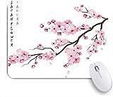 Marutuki Gaming Mouse Pad Rutschfeste Gummibasis,Realistischer Sakura Japan Kirschzweig mit blühenden Blumen,für Computer Laptop Office Desk,240 x 200mm