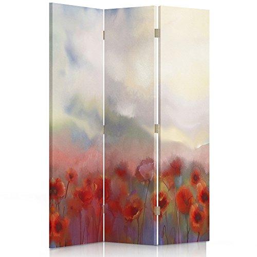 Feeby Frames Paravent Fleurs Cloison de séparation 2 Faces Rouge 110x180 cm