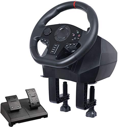 RSTJ-Sjef Volant De Jeu PC avec Pédales De Frein Accélérateur, Angle De Rotation du Volant 270 ° Et 900 ° - pour PS3, PS4, Xbox, One, Nintendo Switch