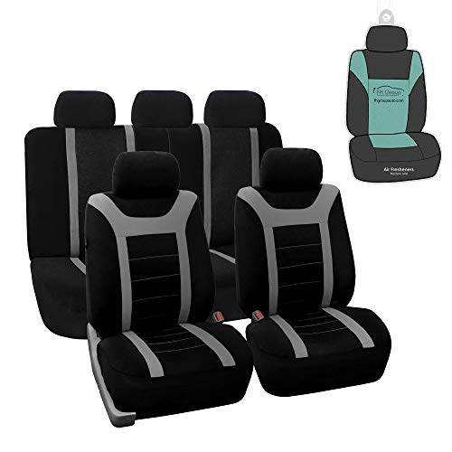 FH Group FB070115 Sports Seat Covers (Gray) Full Set with Gift - Universal for Cars Trucks and SUVs