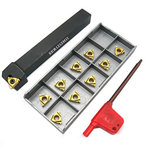 "1/2"" Lathe Threading Tool SER1212H11 with 10pcs 11ER AG60 Threading Inserts for External Threading Holder CNC Turning Tool"