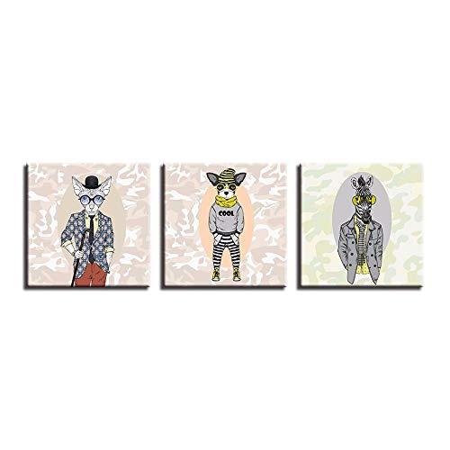LTTGG 3 stücke von modernen leinwand malerei wand art deco abstrakte hund tier mode kinderzimmer kunstwerk poster in Leinwanddrucke