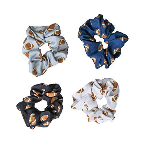 Happie Hare Scrunchies - Cotton Rounds Elastic Hair Bands - Scrunchy Hair Ties - Girls Hair Accessories - Gifts for Women (4 Pack, Football Sport Scrunchie)