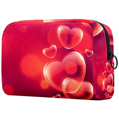 Bolsa de cosméticos Bolsa de Maquillaje Bolsa de cosméticos de Viaje, Bolso de Mano, Bolso de baño,Fondo Rojo con Burbujas y Corazones