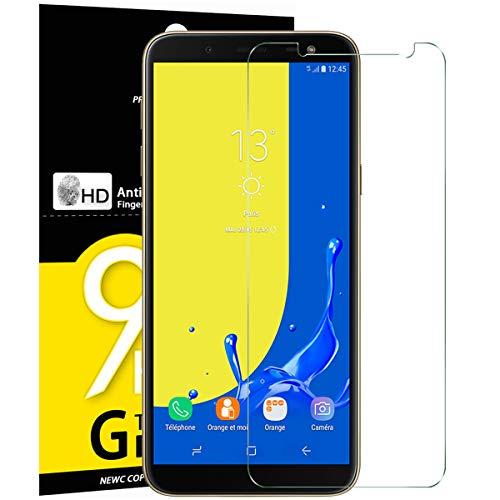 NEW'C [3 Stück, PanzerglasFolie Schutzfolie für Samsung Galaxy J6, Frei von Kratzern Fingabdrücken und Öl, 9H Härte, HD Displayschutzfolie, 0.33mm Ultra-klar, DisplayschutzfolieSamsung Galaxy J6