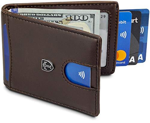 TRAVANDO Money Clip Wallet ORLANDO - Cartera para hombre, delgada, bolsillo frontal, RFID, soporte para tarjetas de bloqueo, minimalista, mini caja de regalo, S, Marrón.