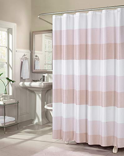 Dainty Home Waffle Weave Ombre Stripe Shower Curtain, 70X72, Textured Blush